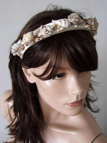 "Seashells + Pearls Padded Headband - Beach Wedding Bride Bridesmaids Honeymoon Headpiece  ""Tia"""